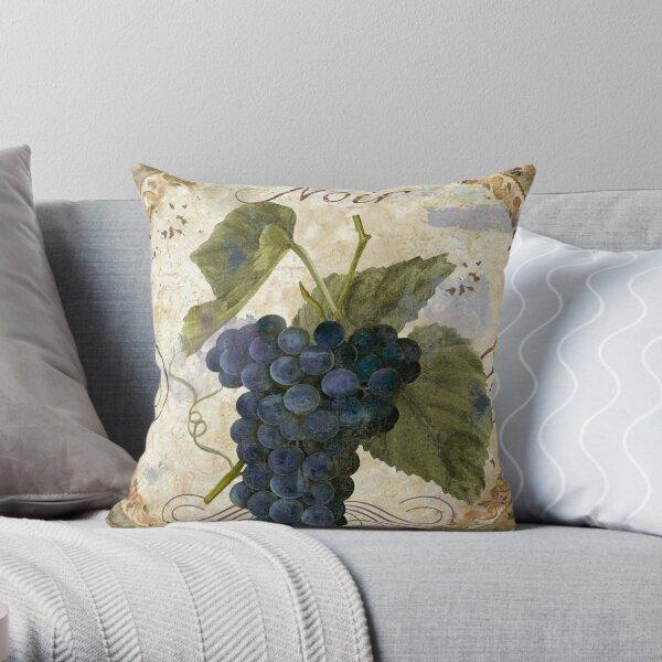 Tuscan Table Grenache Noir Wine Grapes Throw Pillow