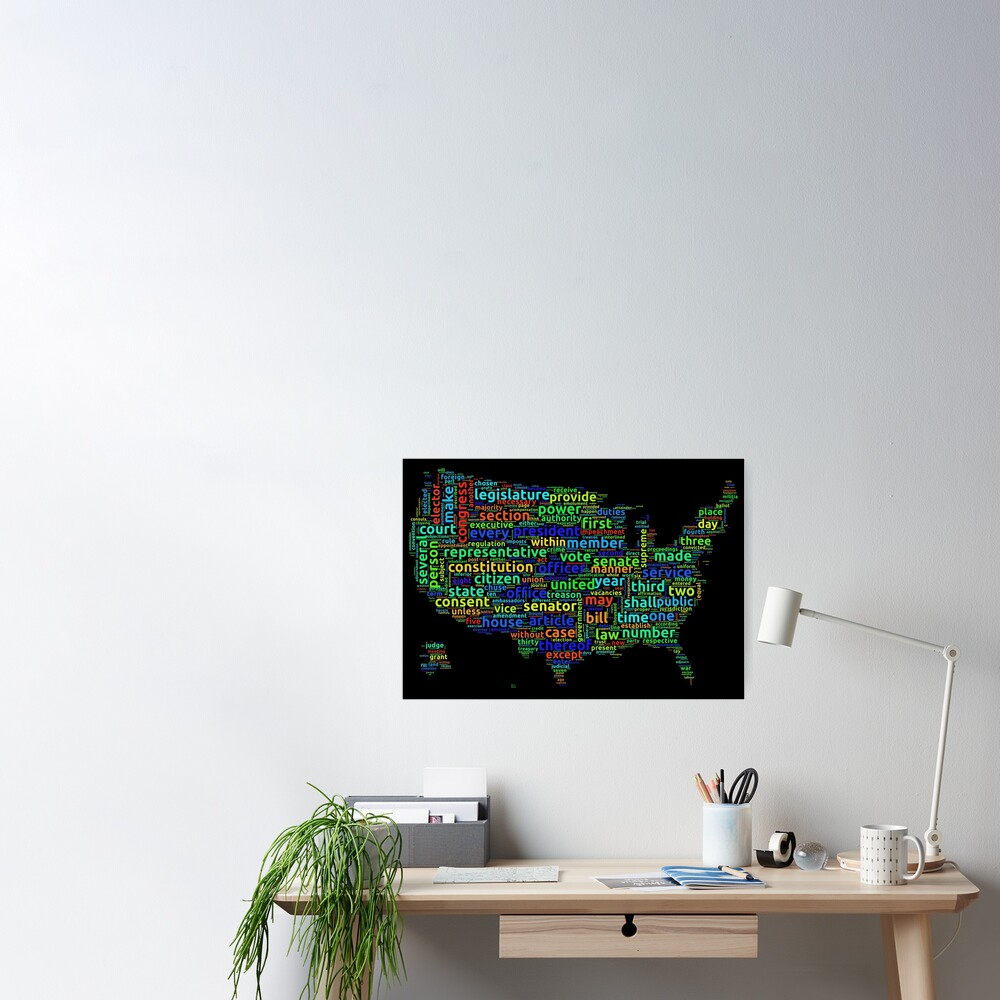 US Constitution Word Cloud Map on Black Background Poster
