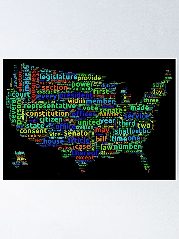 Alternate view of US Constitution Word Cloud Map on Black Background Poster