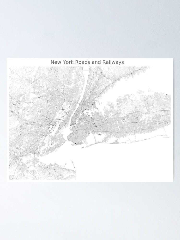 Alternate view of New York Roads and Railways Map Poster