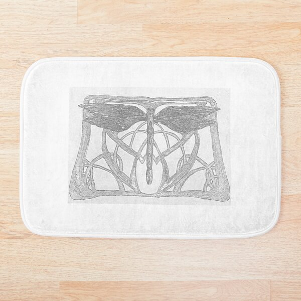 Black and white Victorian style Dragonfly Bath Mat