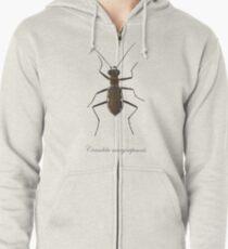 Cobblestone tiger beetle, Cicindela marginipennis Zipped Hoodie