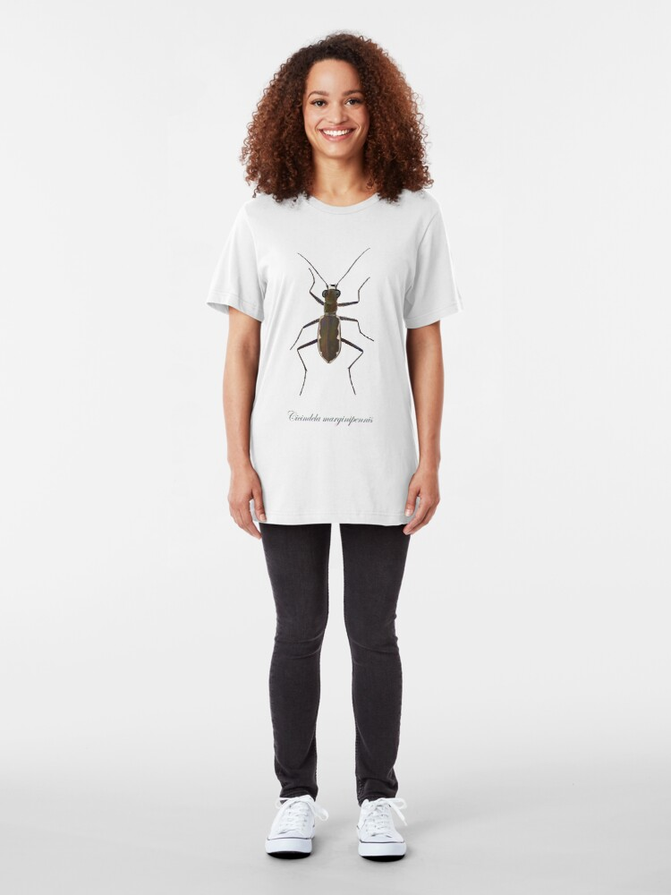 Alternate view of Cobblestone tiger beetle, Cicindela marginipennis Slim Fit T-Shirt