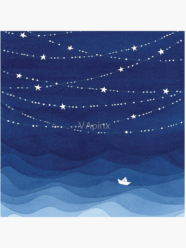 Garland of Stars IV, nautical watercolor by VApinx