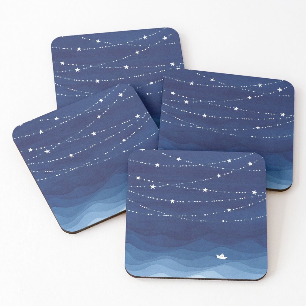Garland of Stars IV, nautical watercolor Coasters (Set of 4)