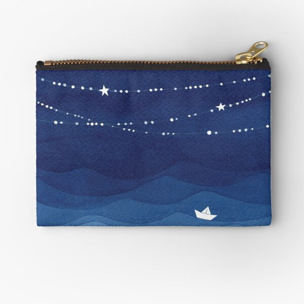 Garland of Stars IV, nautical watercolor Zipper Pouch