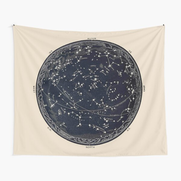 Antique Map of the Night Sky, 19th century astronomy Tapestry