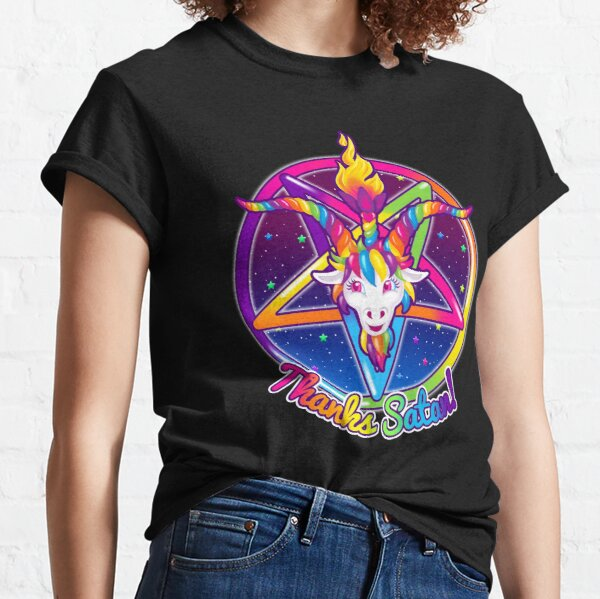 1997 Neon Rainbow Thanks Satan Baphomet Pentagram Sigil Classic T-Shirt