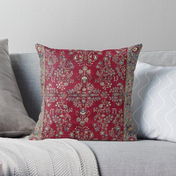 Kashan Central Persian Silk Rug Print Throw Pillow
