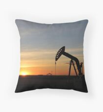 Pump Jack Sunset Throw Pillow