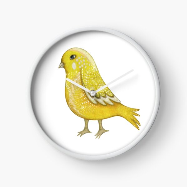 Yellow walking bird Clock