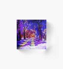 Blauer Wald - Aquarellmalerei Acrylblock