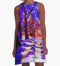 Blauer Wald - Aquarellmalerei A-Linien Kleid