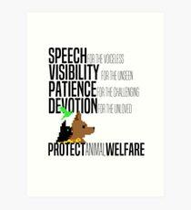 Protect Animal Welfare (black text) Art Print