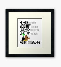 Protect Animal Welfare (black text) Framed Print