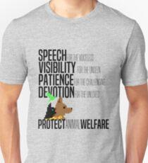 Protect Animal Welfare (black text) Unisex T-Shirt
