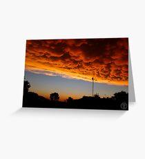 Orange Mammatus Clouds Greeting Card