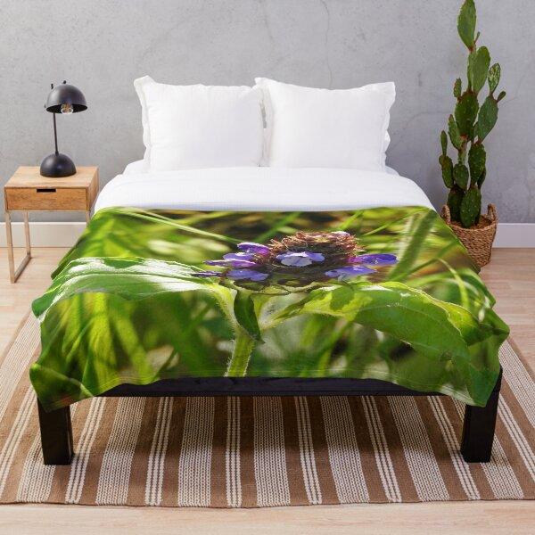 Self Heal Wildflower Throw Blanket