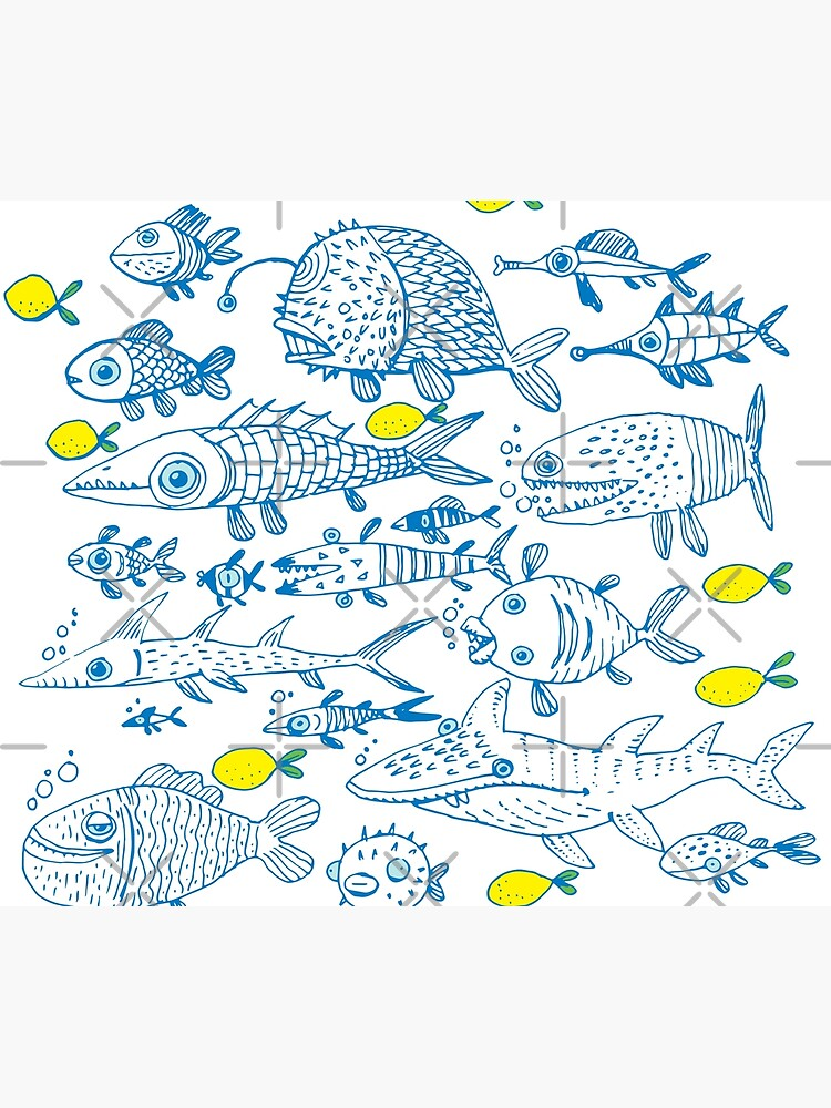 flock of different fishes with lemons between by duxpavlic