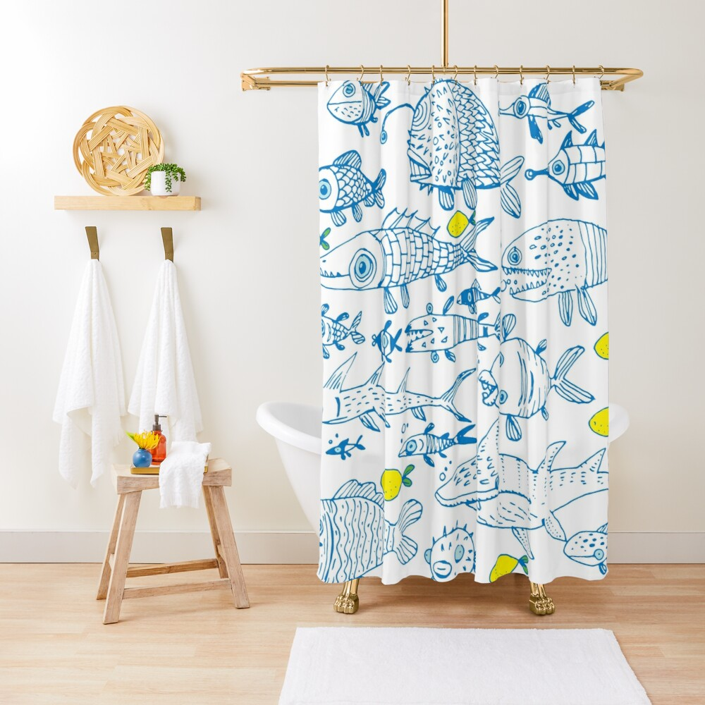 flock of different fishes with lemons between Shower Curtain