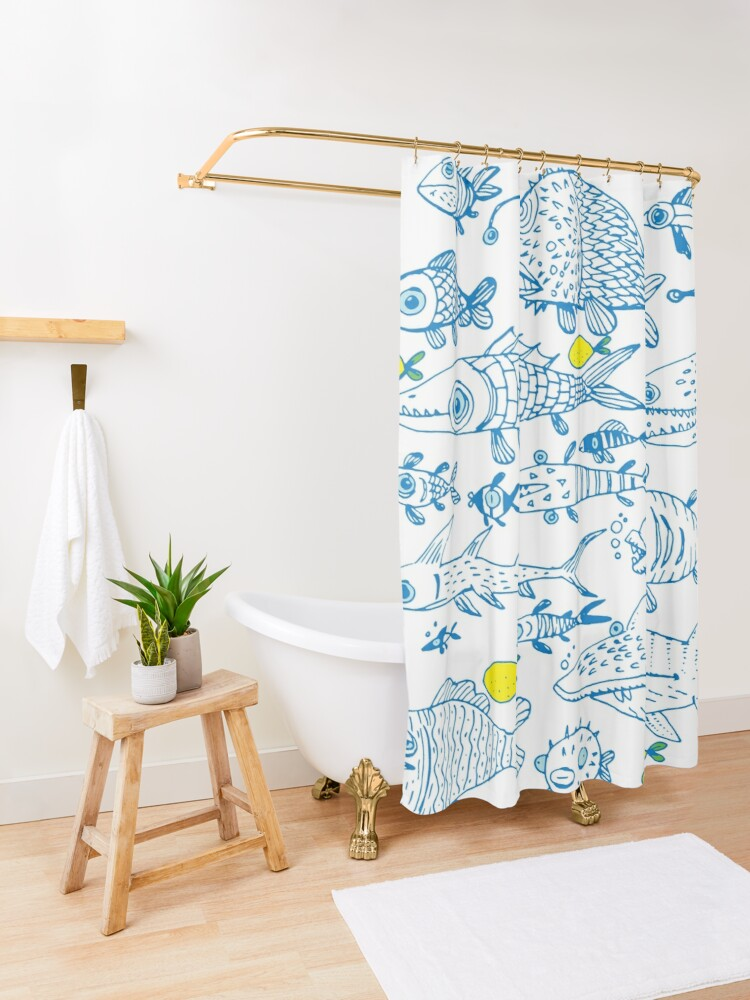 Alternate view of flock of different fishes with lemons between Shower Curtain