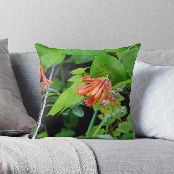 Orange Honeysuckle Wildflower Throw Pillow