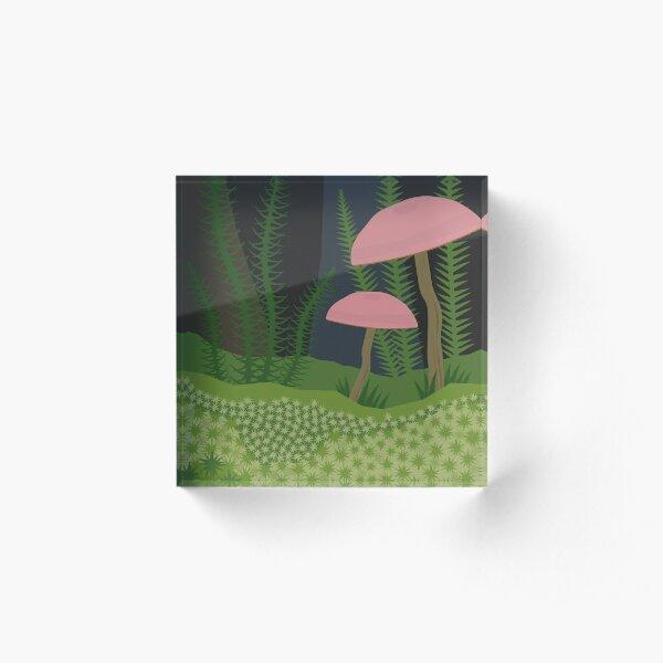 Mushrooms and Moss Acrylic Block