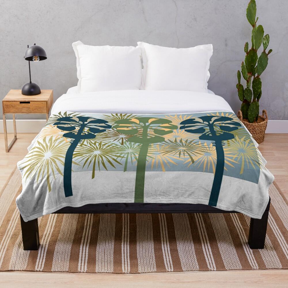 Three Mod Palms Throw Blanket