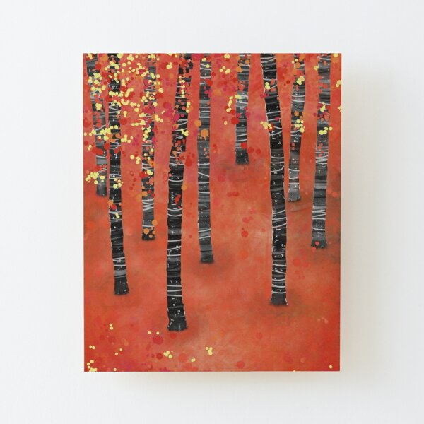 Birches - Autumn Woodland Abstract Landscape Wood Mounted Print