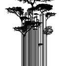 Barcode-Bäume Banksy-Stil Street Art von Creative Spectator