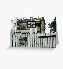 Cemmes Road signal box, Wales, UK. 1970s Greeting Card