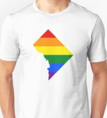 LGBT Flag Map of Washington, D.C.  Unisex T-Shirt