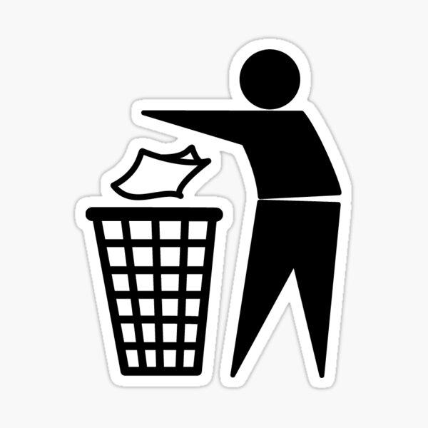 Guy throwing trash away Sticker