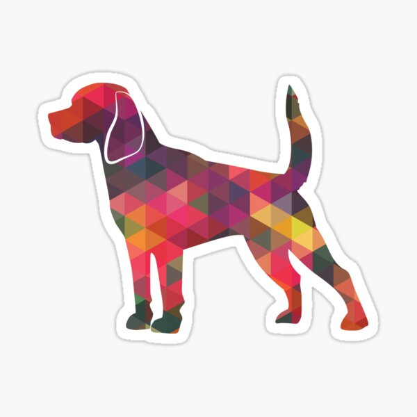 Beagle Dog Breed Geometric Pattern Silhouette Multi Sticker