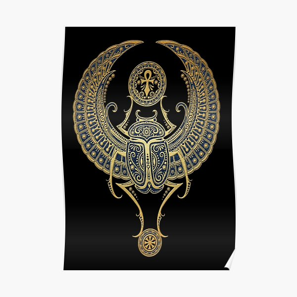 Golden Blue Winged Egyptian Scarab Beetle with Ankh  Poster