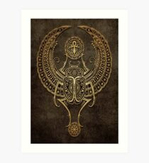 Stone Winged Egyptian Scarab Beetle with Ankh  Art Print
