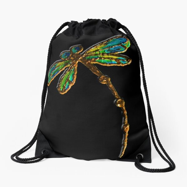 Electric Green Gold Dragonfly Drawstring Bag