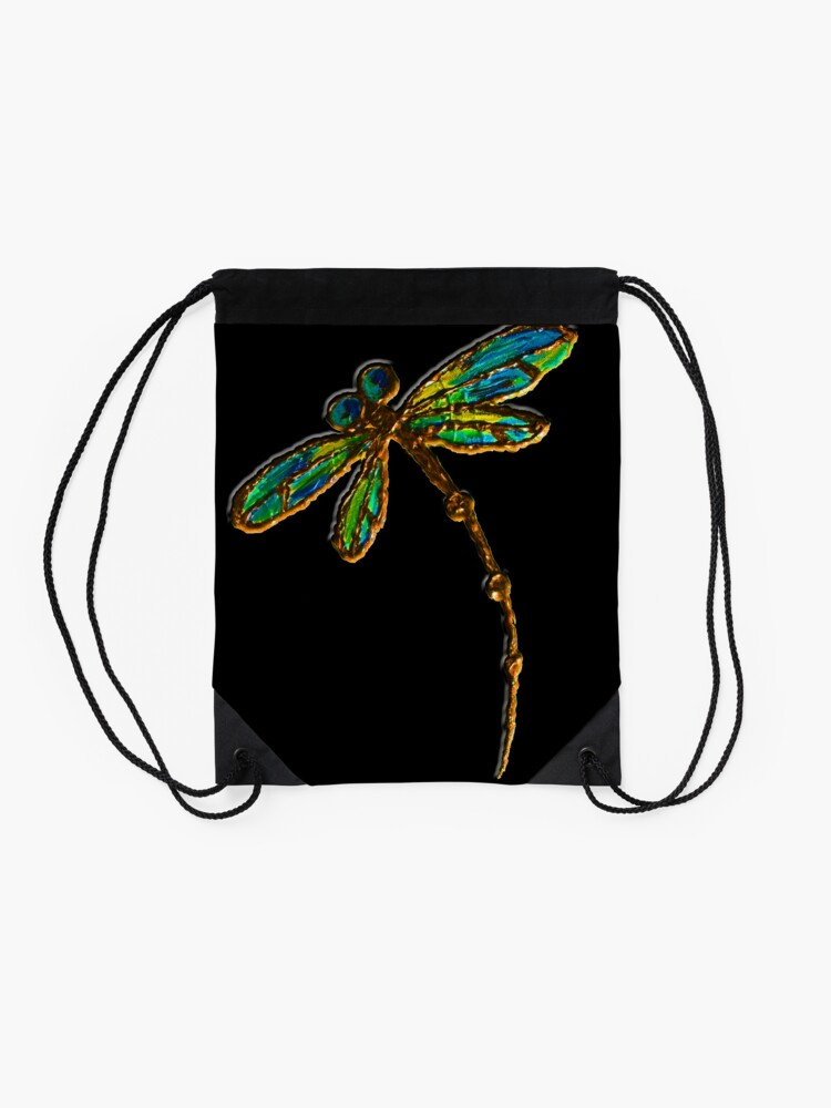 Alternate view of Electric Green Gold Dragonfly Drawstring Bag