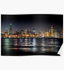 Chicago skyline at midnight Poster