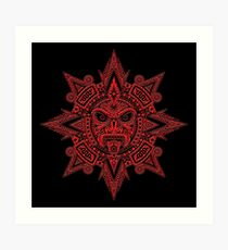 Ancient Red and Black Aztec Sun Mask  Art Print