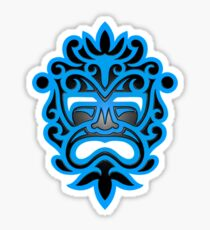 Stylish Blue and Black Mayan Mask Sticker