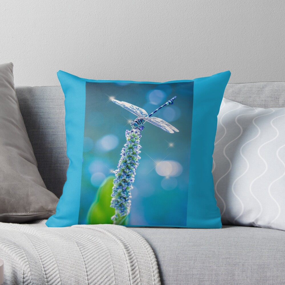 Dragonfly - Mystic Blue Throw Pillow