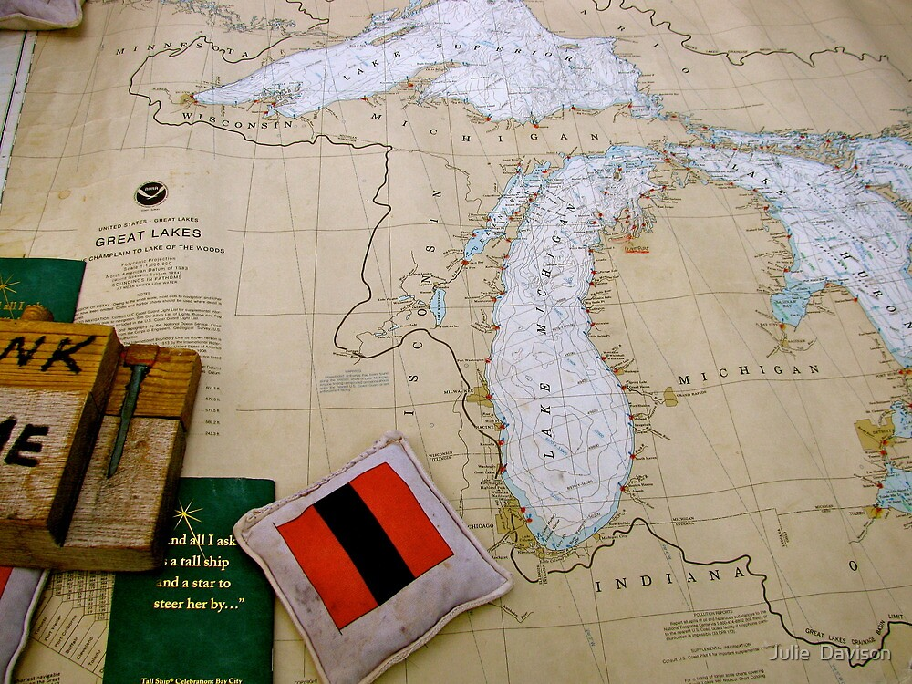 Antique map of the Great Lakes USA by Julie  Davison