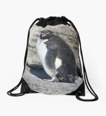 Curious Rockhopper Drawstring Bag