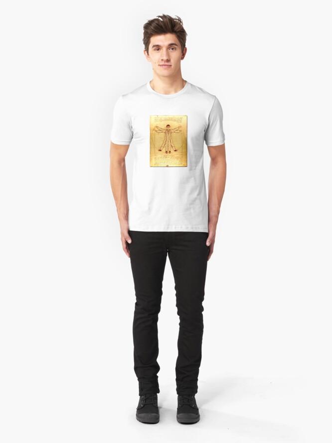 Alternate view of Da Vinci's Vitruvian Timelord Slim Fit T-Shirt