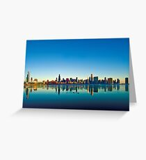 Chicago skyline at sunrise. Greeting Card
