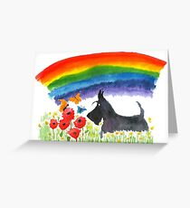 Scottie Dog 'Rainbow' Greeting Card