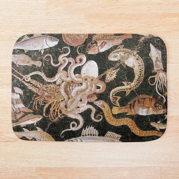 POMPEII COLLECTION / ANTIQUE OCEAN - SEA LIFE SCENE,OCTOPUS AND FISHES Bath Mat