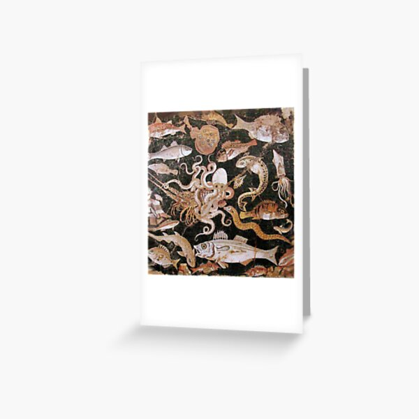 POMPEII COLLECTION / ANTIQUE OCEAN - SEA LIFE SCENE,OCTOPUS AND FISHES Greeting Card