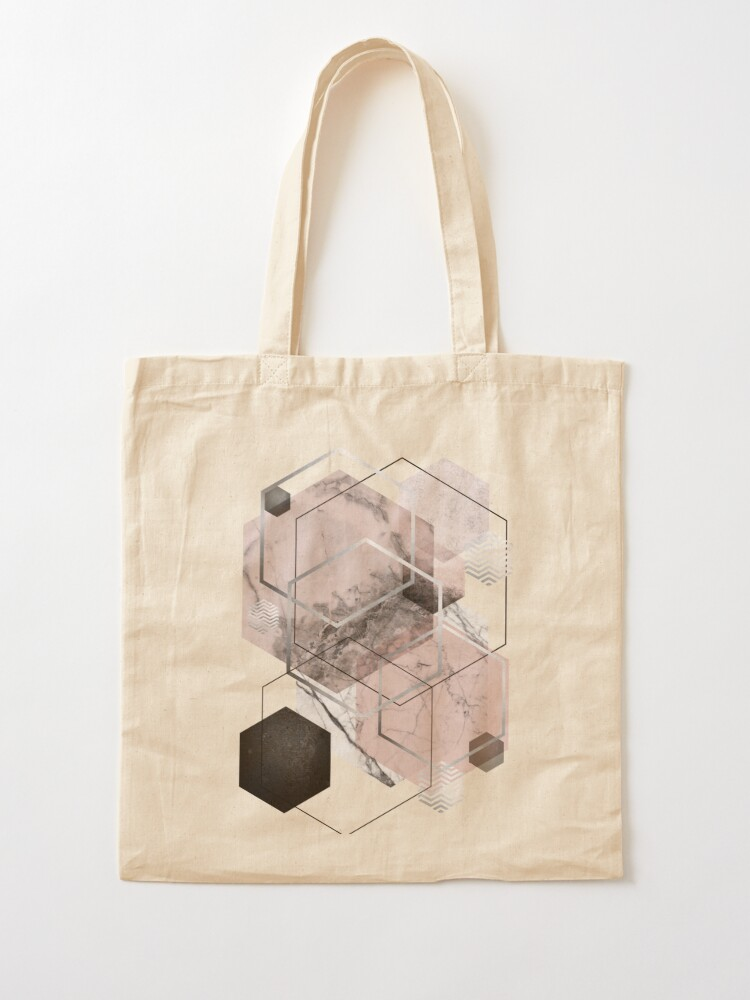 Alternate view of Blush and Grey Geometric Tote Bag